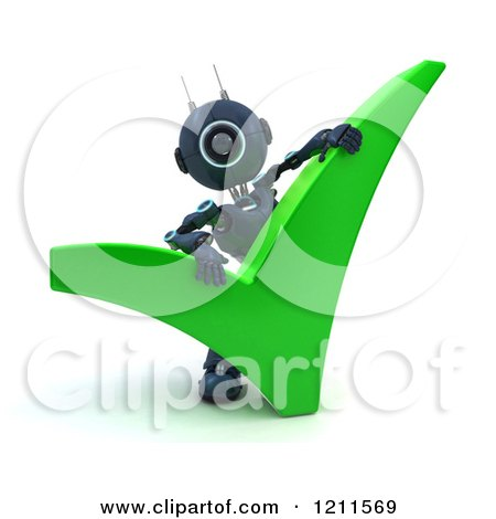 Clipart of a 3d Blue Android Robot with a Green Check Mark - Royalty Free CGI Illustration by KJ Pargeter