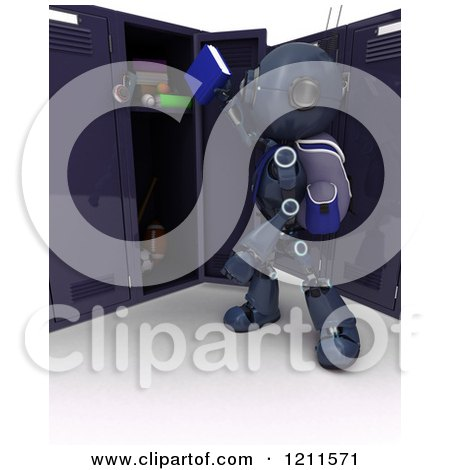 3d Blue Android Robot Student Putting a Book in a Locker Posters, Art Prints