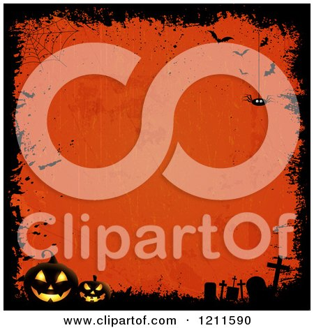 Clipart of a Grungy Halloween Background with a Spider Bats Pumpkins and Tombstones Around Orange Copyspace - Royalty Free Vector Illustration by KJ Pargeter