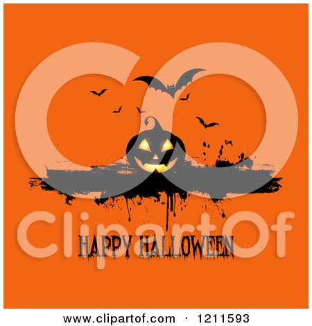 Happy Halloween Greeting with a Jackolantern and Bats with Grunge on Orange Posters, Art Prints
