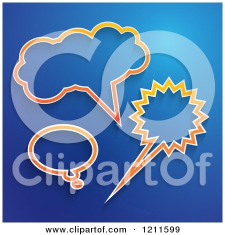 Clipart of Orange Speech and Thought Bubbles on Blue - Royalty Free Vector Illustration by KJ Pargeter