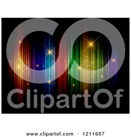 Clipart of a Colorful Lights with Sparkles on Black - Royalty Free Vector Illustration by KJ Pargeter