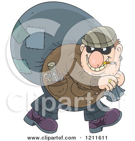 Cartoon of a House Robber Smoking a Cigarette and Carrying a Sack over His Shoulder While Looking Back - Royalty Free Vector Clipart by Alex Bannykh