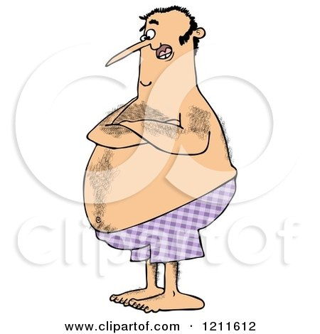 Cartoon of a Hairy Chubby Man with Folded Arms, Standing in Purple Swim Trunks - Royalty Free Clipart by djart