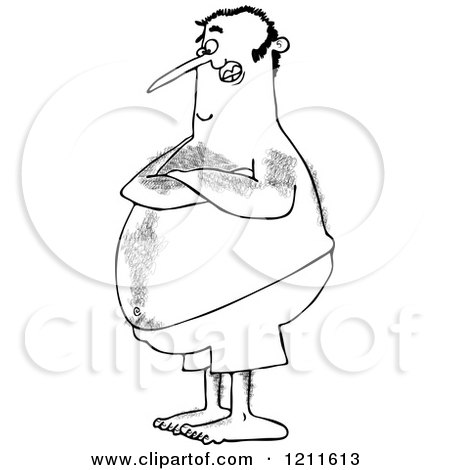 Cartoon of an Outlined Hairy Chubby Man with Folded Arms, Standing in Swim Trunks - Royalty Free Vector Clipart by djart