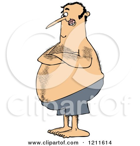Cartoon of a Hairy Chubby White Man with Folded Arms, Standing in Blue Swim Trunks - Royalty Free Vector Clipart by djart