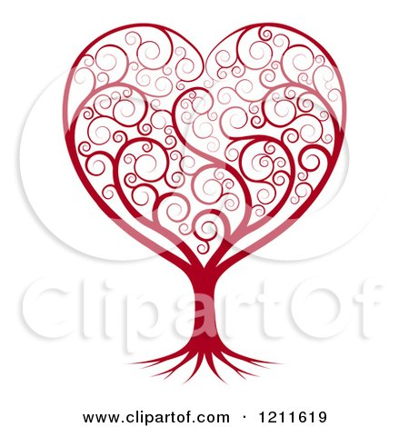 Clipart of a Red Heart Tree with Swirls - Royalty Free Vector Illustration by AtStockIllustration
