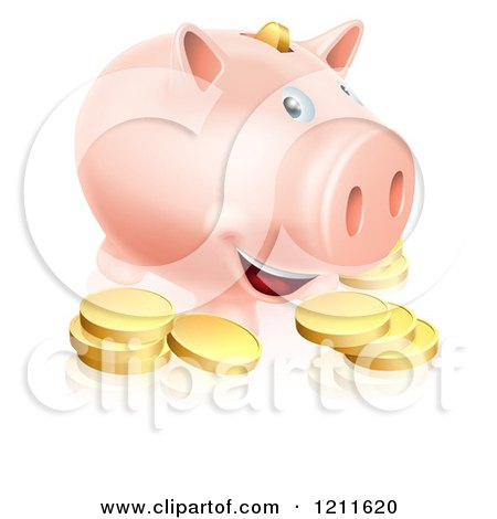 Cartoon of a Happy Smiling Piggy Bank with Golden Coins - Royalty Free Vector Clipart by AtStockIllustration