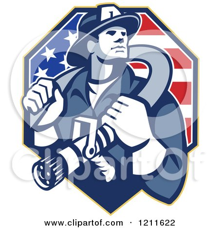Clipart of a Retro Fire Fighter Man Holding a Hose on His Shoulders over an American Flag - Royalty Free Vector Illustration by patrimonio