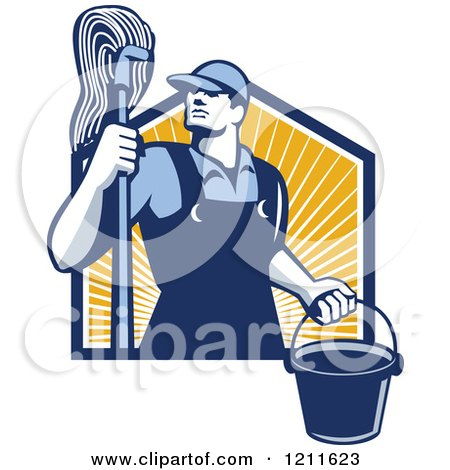 Clipart of a Retro Male Janitor Holding a Mop and Bucket over Sunshine - Royalty Free Vector Illustration by patrimonio