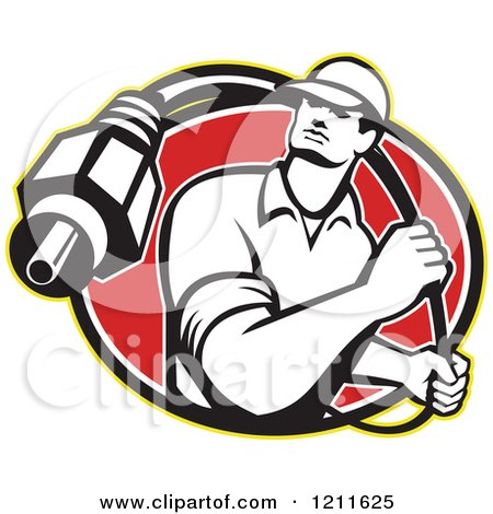 Clipart of a Retro Cable Tv Guy with a Coaxial Cable over a Red Oval - Royalty Free Vector Illustration by patrimonio