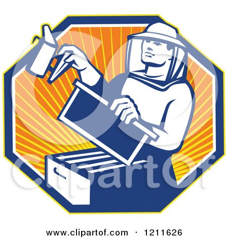 Clipart of a Retro Bee Keeper Holding a Smoker over an Octagon of Rays - Royalty Free Vector Illustration by patrimonio