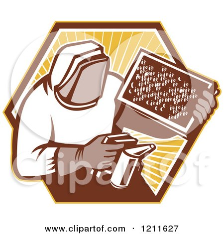 Clipart of a Retro Bee Keeper Holding a Smoker and Frame over an Octagon of Rays - Royalty Free Vector Illustration by patrimonio