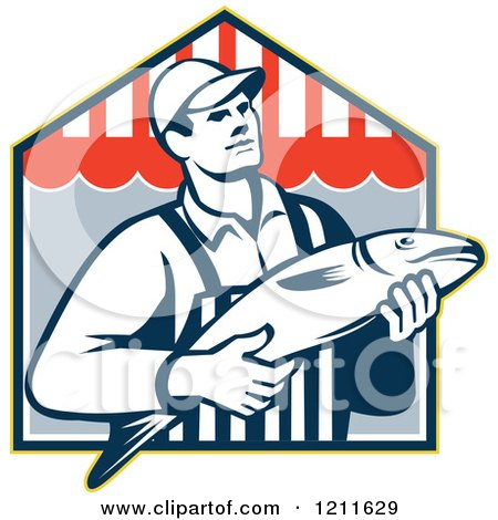Clipart of a Retro Fish Monger over a Shop - Royalty Free Vector Illustration by patrimonio