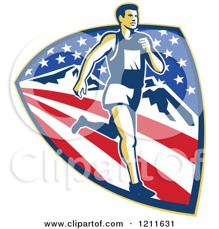 Clipart of a Retro Marathon Runner over a Mountain American Stars and Stripes Shield - Royalty Free Vector Illustration by patrimonio