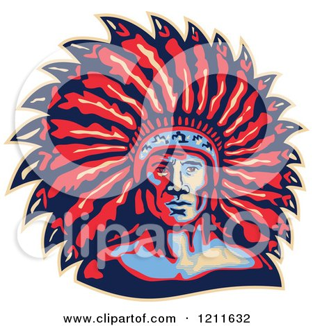 Clipart of a Retro American Indian Chief and Feather Headdress - Royalty Free Vector Illustration by patrimonio