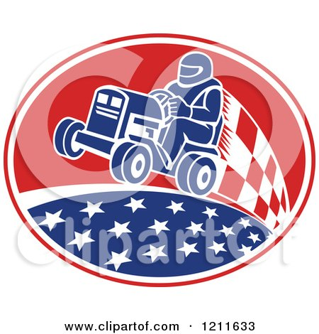 Clipart of a Retro Man Racing a Tractor in an Oval of Stars and Checkers - Royalty Free Vector Illustration by patrimonio