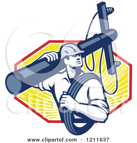 Clipart of a Retro Lineman Worker Carrying a Pole and Cable over Rays - Royalty Free Vector Illustration by patrimonio