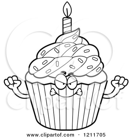 Royalty Free Rf Black And White Cupcake Clipart