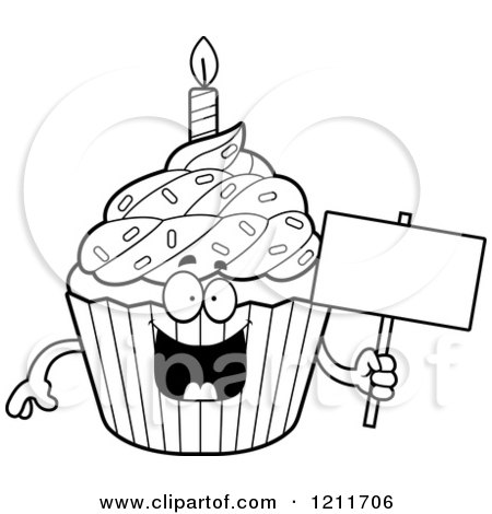 happy birthday cupcake clipart black and white