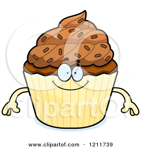 Cartoon of a Happy Chocolate Sprinkled Cupcake Mascot - Royalty Free Vector Clipart by Cory Thoman