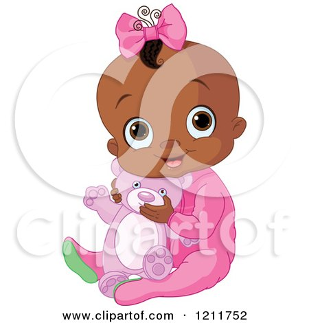 Cute African American Baby Girl Hugging A Teddy Bear Posters, Art Prints