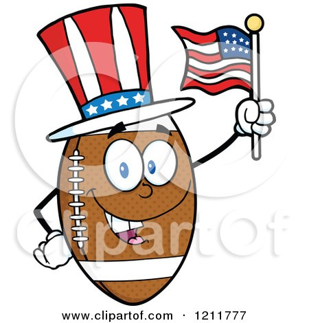 Cartoon of an American Football Mascot Wearing a Patriotic Hat and Waving a Flag - Royalty Free Vector Clipart by Hit Toon