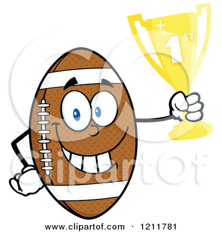 Cartoon of an American Football Mascot Holding a First Place Trophy - Royalty Free Vector Clipart by Hit Toon