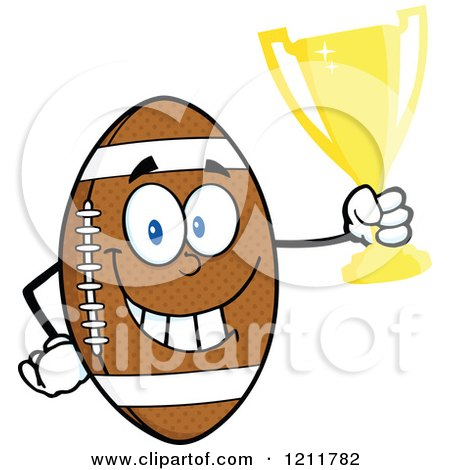 Cartoon of an American Football Mascot Holding a Trophy - Royalty Free Vector Clipart by Hit Toon