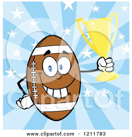 Cartoon of an American Football Mascot Holding a Trophy over Stars and Rays - Royalty Free Vector Clipart by Hit Toon
