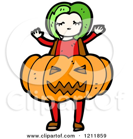 Cartoon of a Girl in a Jack-o-lantern Costume - Royalty Free Vector Illustration by lineartestpilot