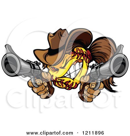 Clipart Softball Cowgirl Shooting With Two Pistols - Royalty Free Vector Illustration by Chromaco