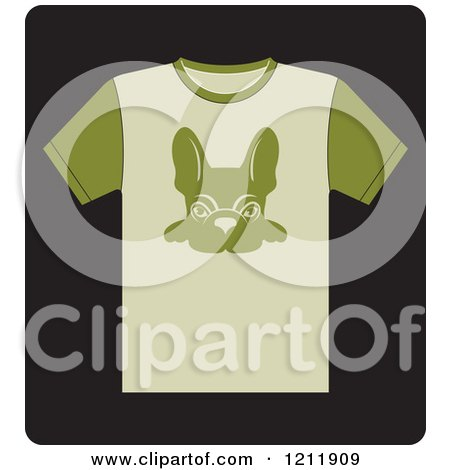 Clipart of a Black Icon of a T Shirt with a French Bulldog - Royalty Free Vector Illustration by Lal Perera