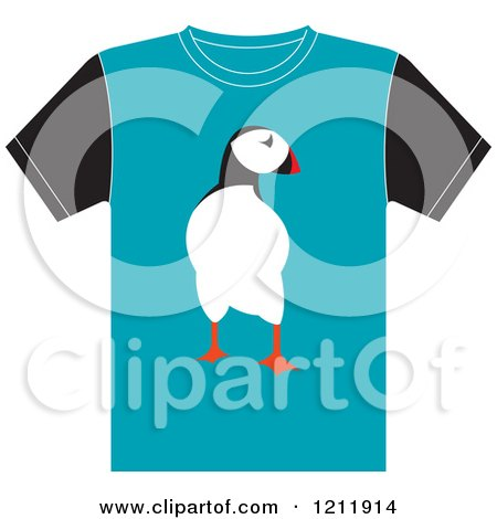 Clipart of a T Shirt with a Penguin - Royalty Free Vector Illustration by Lal Perera