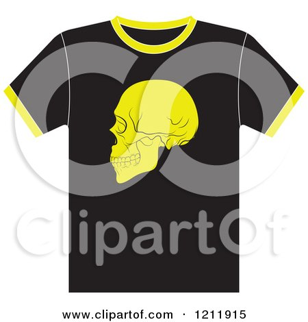 Clipart of a Black T Shirt with a Skull - Royalty Free Vector Illustration by Lal Perera