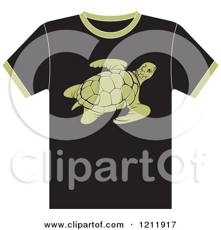 Clipart of a Black T Shirt with a Sea Turtle - Royalty Free Vector Illustration by Lal Perera