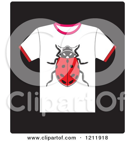 Clipart of a White Icon of a T Shirt with a Ladybug - Royalty Free Vector Illustration by Lal Perera