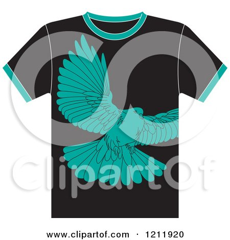 Clipart of a Black T Shirt with a Dove - Royalty Free Vector Illustration by Lal Perera