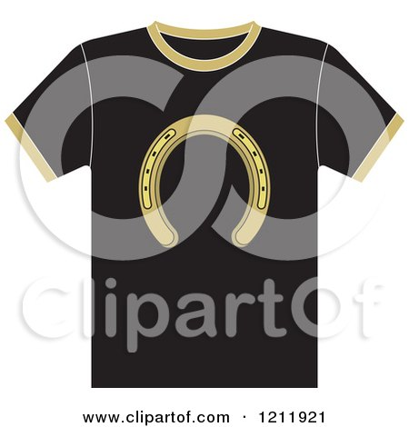 Clipart of a Black T Shirt with a Horseshoe - Royalty Free Vector Illustration by Lal Perera
