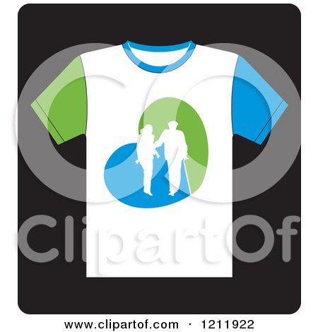 Clipart of a White T Shirt with a Helping Woman and Senior - Royalty Free Vector Illustration by Lal Perera