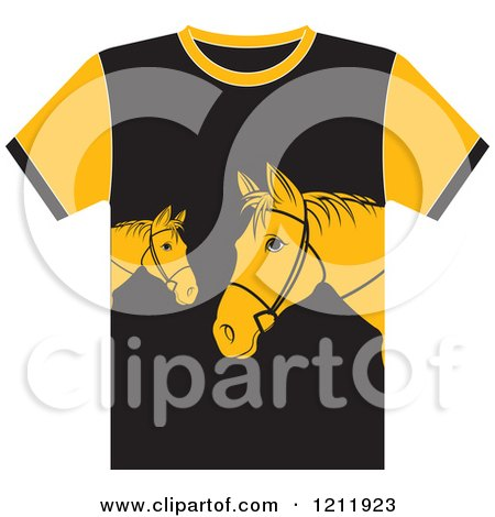 Clipart of a Black T Shirt with Horses - Royalty Free Vector Illustration by Lal Perera