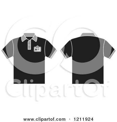 Clipart of a Black T Shirt with an Id Badge, Shown Front and Back - Royalty Free Vector Illustration by Lal Perera
