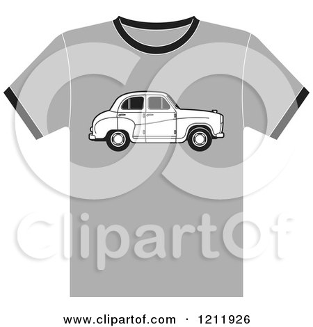 Clipart of a Gray T Shirt with an Austin Car - Royalty Free Vector Illustration by Lal Perera