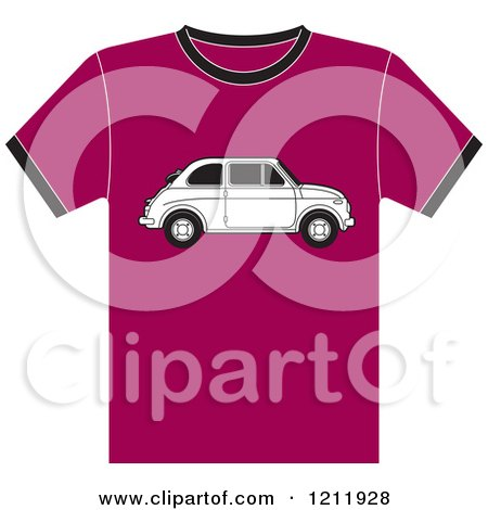 Clipart of a Pink T Shirt with a Fiat Car - Royalty Free Vector Illustration by Lal Perera