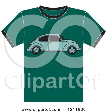 Clipart of a Teal T Shirt with Vw Beetle - Royalty Free Vector Illustration by Lal Perera
