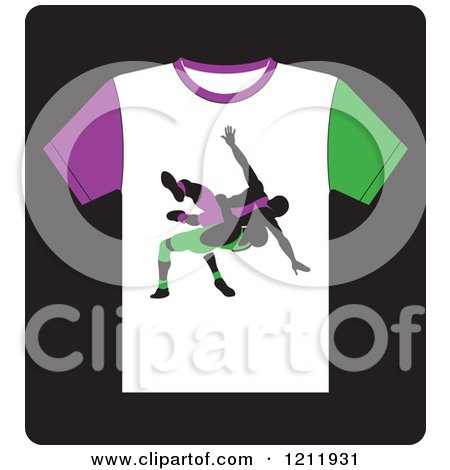 Clipart of a Black Icon of a T Shirt with Wrestlers - Royalty Free Vector Illustration by Lal Perera