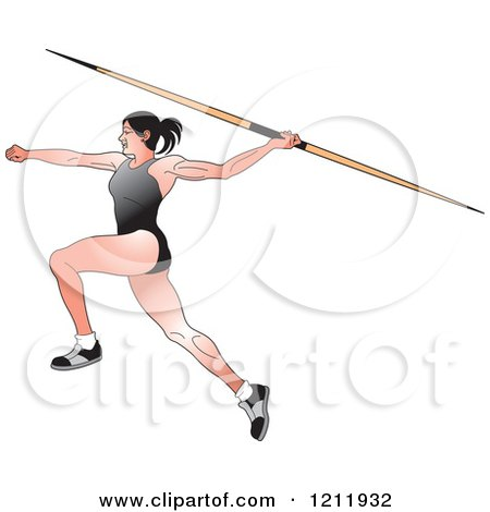 Clipart of a Female Javelin Thrower in a Black Uniform - Royalty Free Vector Illustration by Lal Perera