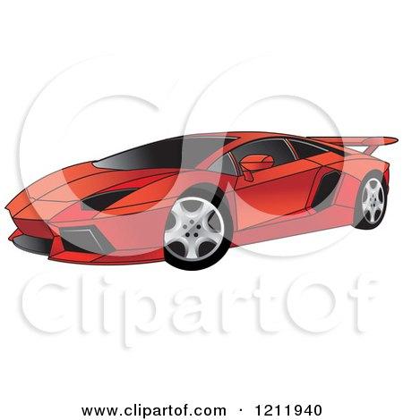 Clipart Of A Red Lamborghini Aventador Sports Car Royalty Free
