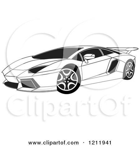 Clipart Of A Black And White Lamborghini Aventador Sports Car