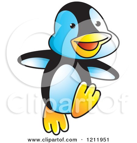Clipart of a Happy Penguin Dancing - Royalty Free Vector Illustration by Lal Perera